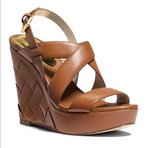 Michale Kors Brown Leather Wedges 9 1/2